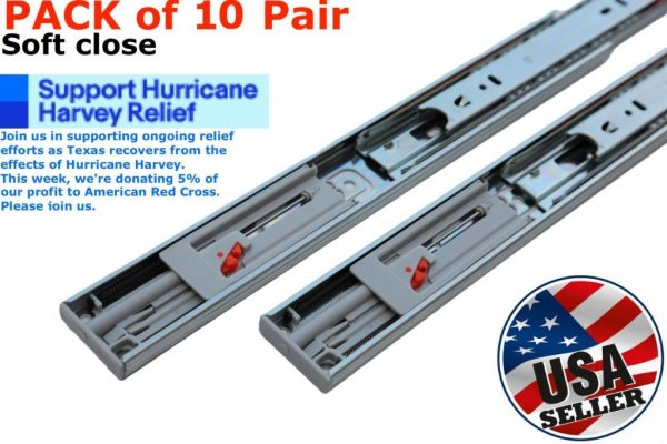 "Buy Best 10 Pair 14""-22"" Soft Close Drawer Slides Ball Bearing Full Extension Value Pack"