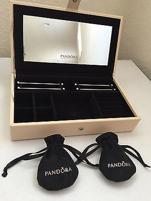Buy Best 100% Authentic Pandora Leather Jewelry Box w/ Mirror, and 2 Pandora Pouches!