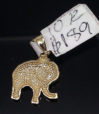 10K Yellow Gold Elephant Charm 10K Yellow Gold Rope Chain 24 inch, 100% real