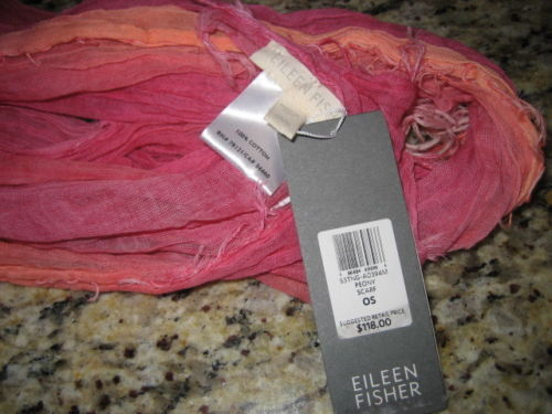 $118 EILEEN FISHER PEONY PINK TEXTURED OMBRE FRINGE SCARF NWT s m l xl 1x 2x 3x
