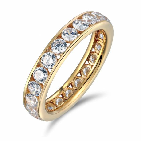 14k Yellow Gold GF Round channel Eternity Endless Anniversary Wedding Ring Band