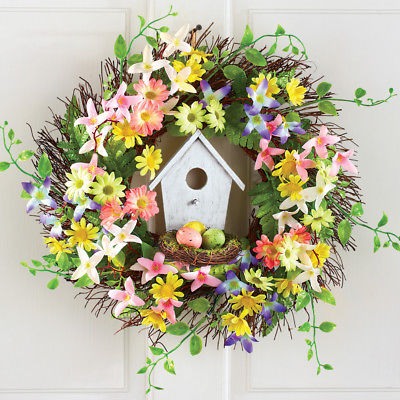 """17"""" Birdhouse Nest and Flowers Wreath Spring Time Floral Door Display"""