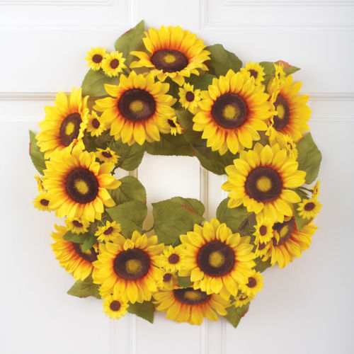 "17"" Sunflowers Greenery Wreath Spring TIme Floral Flowers Door Display"