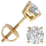 Buy Best 18K YELLOW GOLD 1/2 cttw SOLITAIRE VS2-SI1 G-H DIAMOND STUD BASKET-SET EARRINGS