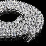 Buy Best 18k White Gold 1 Row 5MM Lab Diamond Iced Out Chain Men's HipHop Tennis Necklace