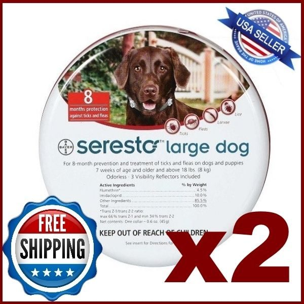 **2 Collars** Seresto Flea & Tick Collar for Large Dogs over 18 lbs(27 inch)