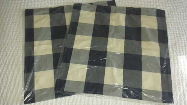 "Buy Best 2 Pottery Barn BUFFALO CHECK PLAID Pillow Covers 24""  Sailor Blue Christmas NWT!"