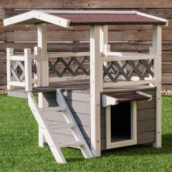 Buy Best 2-Story Outdoor Weatherproof Wooden Cat House Condo Shelter With Ladder