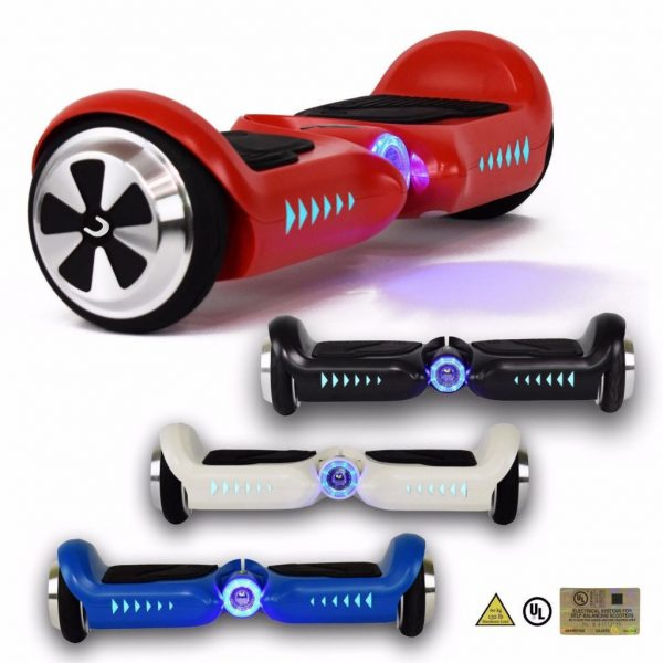 2 Wheel Electric Scooter hoover Board UL approved rugged body w/ LED Black Red X