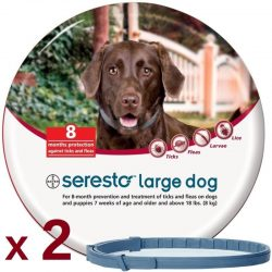 2 x Seresto Flea & Tick 8 Month Collar for Large Dogs over 18 lbs