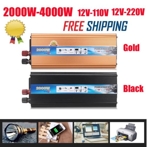 2000W/4000 Watt Power Inverter 12V DC to 110V 220V AC Adapter Charger Converter