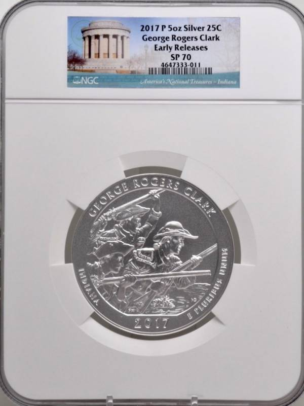 Buy Best 2017 P 5oz SILVER 25C George Rogers Clark NGC SP 70 Early Releases must see!