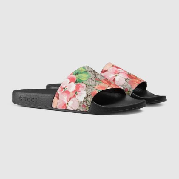 2018 NWT Gucci Women's Blooms slide sandal GG Supreme Canvas Size US6-11
