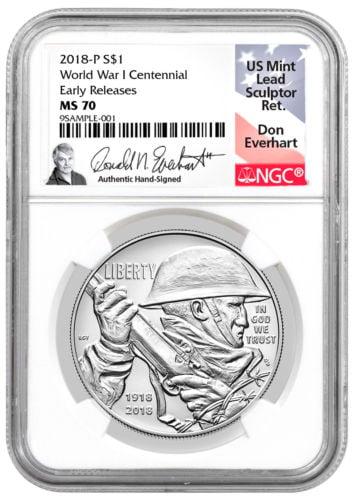 Buy Best 2018-P WWI Centennial Commem Silver Dollar NGC MS70 ER Everhart PRESALE SKU52036
