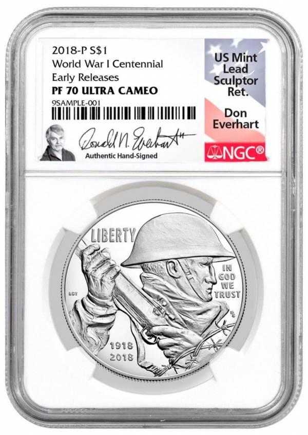2018-P WWI Centennial Commem Silver Dollar NGC PF70 ER Everhart PRESALE SKU52037