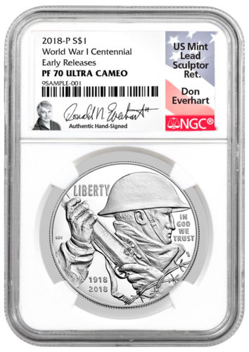 Buy Best 2018-P WWI Centennial Commem Silver Dollar NGC PF70 ER Everhart PRESALE SKU52037