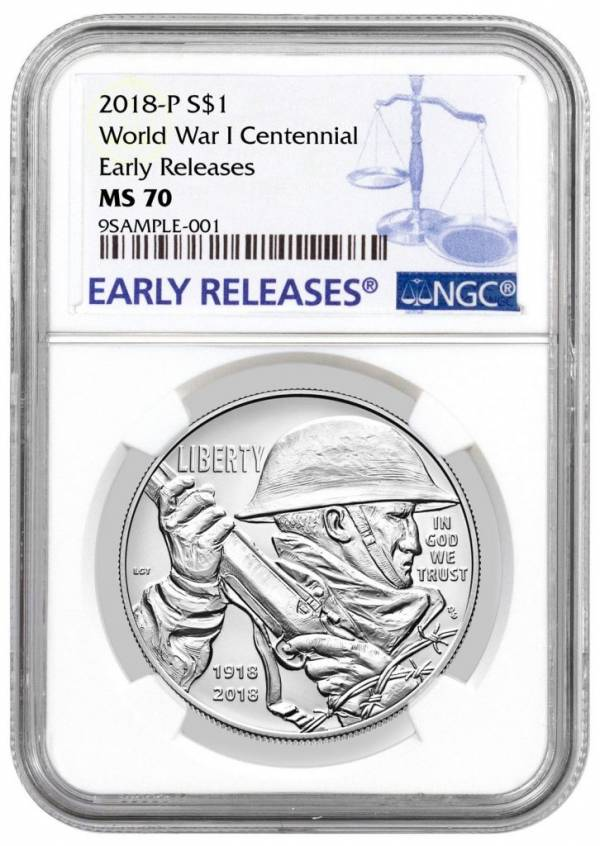 Buy Best 2018-P WWI Centennial Commemorative Silver Dollar NGC MS70 ER PRESALE SKU52035