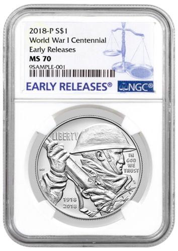 2018-P WWI Centennial Commemorative Silver Dollar NGC MS70 ER PRESALE SKU52035