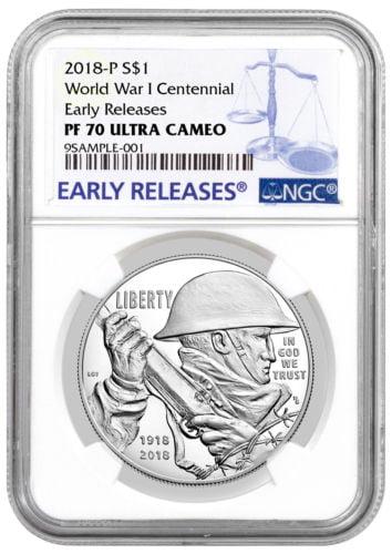 Buy Best 2018-P WWI Centennial Commemorative Silver Dollar NGC PF70 UC ER PRESLE SKU52033