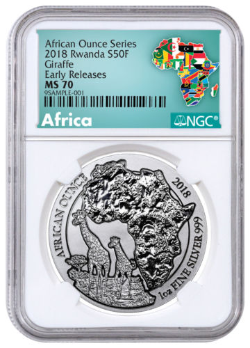 Buy Best 2018 Rwanda African Ounce - Giraffe 1 oz Silver Fr.50 Coin NGC MS70 ER SKU52006