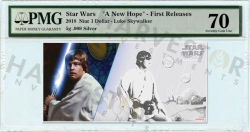 Buy Best 2018 SILVER STAR WARS LUKE SKYWALKER - 5 GRAM COIN NOTE - PMG 70 FIRST RELEASES