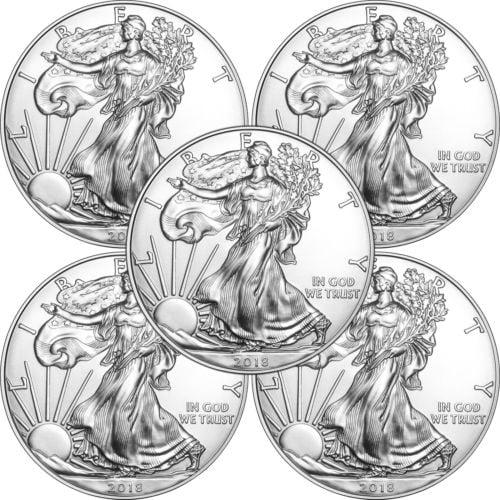 Buy Best 2018 Silver American Eagle BU 5pc