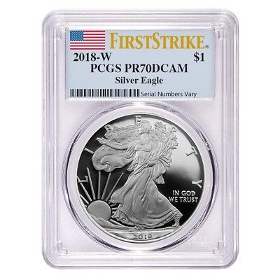 Buy Best 2018-W 1 oz Proof Silver American Eagle PCGS PF 70 DCAM First Strike