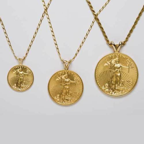 """Buy Best 22k 1/10 oz. Standing Liberty gold coin Pendent! w/ 18"""" 14k fine gold Necklace."""