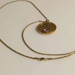 22k 1/2 0z. Standing Liberty gold coin with Amethyst Gem jewelry:  Necklace.