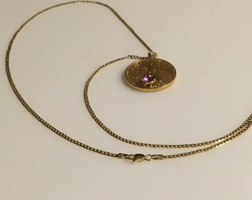 Buy Best 22k 1/2 0z. Standing Liberty gold coin with Amethyst Gem jewelry:  Necklace.