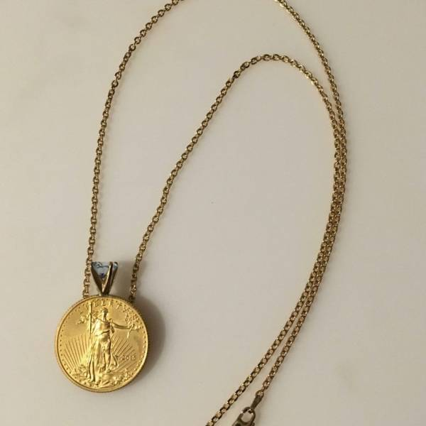Buy Best 22k 1/4 oz. Standing Liberty gold coin w/ Aquamarine gem, Necklace: jewelry