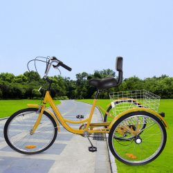"""Buy Best 24"""" 3 Wheel Adult 6-speed Shifter Tricycle Bicycle Trike W/Basket Yellow"""