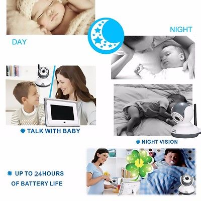 """2.4GHz Wireless 7"""" TFT LCD Video Baby Monitor with Night vision Remote Camera"""