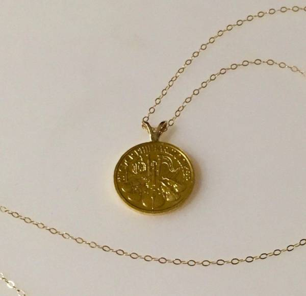"""Buy Best 24k 1/10 oz. Aus. Philharmonic gold coin jewelry: Necklace w/ 16"""" 14k curb chain"""