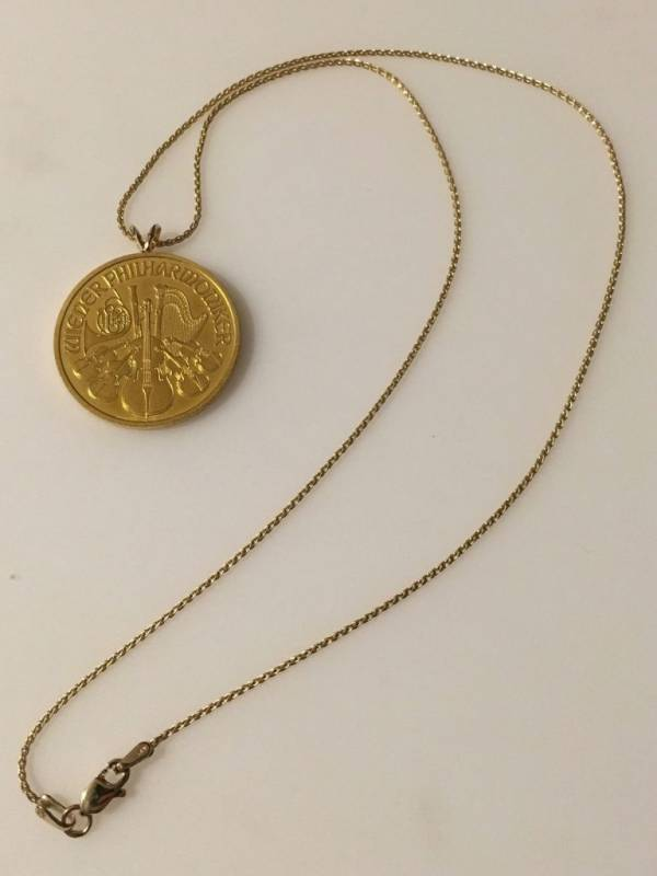 "24k 1/2 oz. Aus. Philharmonic gold coin jewelry: Necklace w/ 18"" 14k Wheat chain"