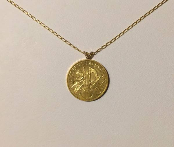 """Buy Best 24k 1/4 oz. Aus. Philharmonic gold coin jewelry: Necklace w/ 20"""" 14k curb chain"""