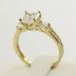 Buy Best 2.5 Ct 14K Real Yellow Gold Princess Cut 3 Stone Engagement Wedding Promise Ring