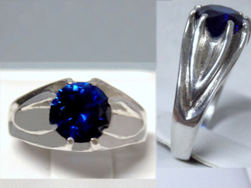 2.50ct blue sapphire gypsy 925 sterling silver ring size 6.5 USA