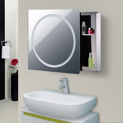 "Buy Best 28"" LED Wall Mounted Sliding Bathroom Mirror Medical Cabinet w/ Storage Shelves"