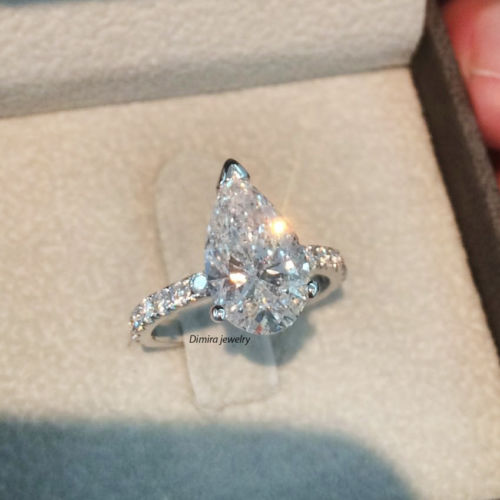 2CT Pear-Cut Diamond Solitaire Engagement Ring 10k Solid White Gold