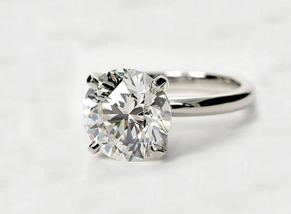 3 Carat Round Cut D Vs2 Diamond Solitaire Engagement Ring 14k White Gold