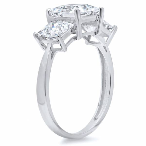 3 Ct Princess Cut 3-Stone Engagement Wedding Ring Real Solid 14K White Gold
