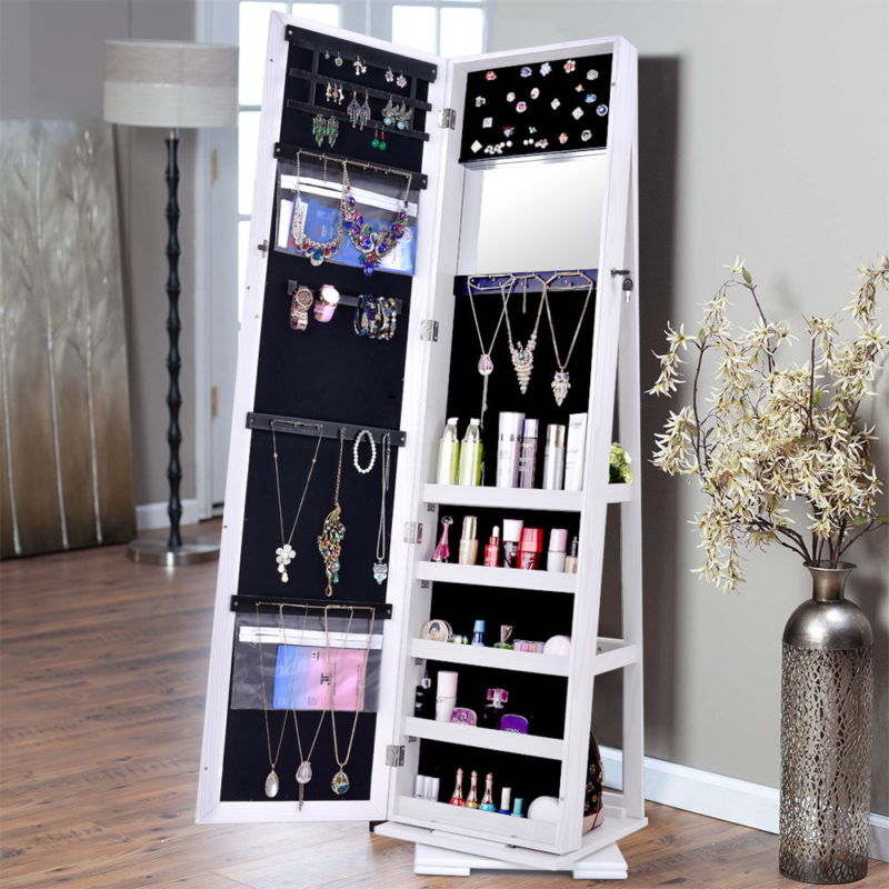 360 Degree Rotatable Jewelry Cabinet Mirror Lockable Standing Armoire Organizer