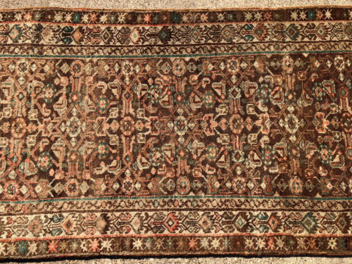 3x11 PERSIAN RUNNER RUG WOOL HAND KNOTTED WOVEN MADE IRAN ANTIQUE brown 3x10 3x9