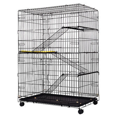 4-Tier Cat Playpen Cat Cage with 3 Climbing Ladders & 3 Rest Benches & Cushion
