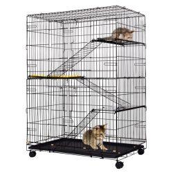 Buy Best 4-Tier Cat Playpen Cat Cage with 3 Climbing Ladders & 3 Rest Benches & Cushion