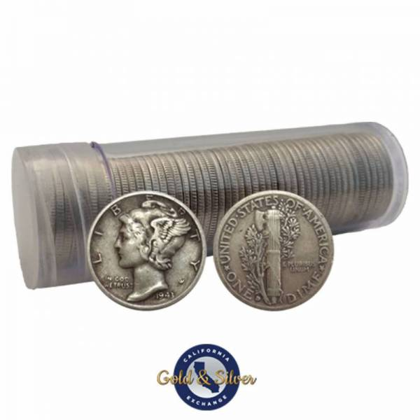 Buy Best $5 Face Value Mercury Dimes 90% Silver 50-Coin Roll (Circulated)