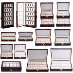 Buy Best 6/10/12/20/24 Wood Watch Display Case Glass Top Jewelry Storage Organizer Gifts
