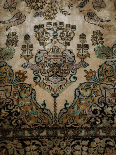 63'' x 42'' HAND KNOTTED PERSIAN NAIN RUG IRAN HANDMADE ANTIQUE RUGS WOOL SILK