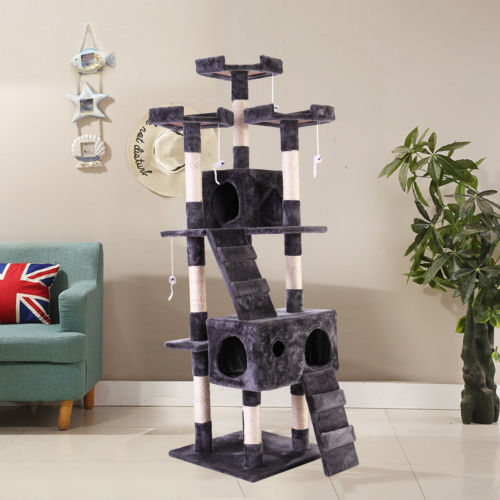 "66"" Cat Tree  Furniture Scratching Tower Condo Post Pet Kitty Playhouse Gray"